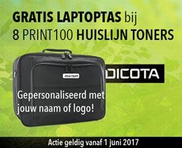 Actie Print100 huislijn toner bij bestelling 8 toners gratis laptoptas