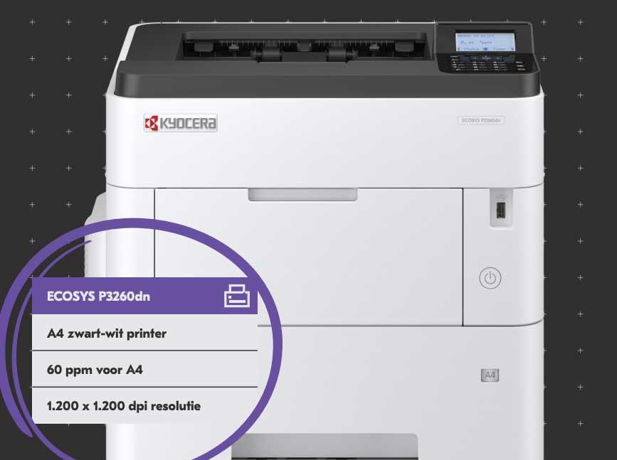 Nieuwe ECOSYS P3260dn: Print 40.000 A4-tjes met één toner